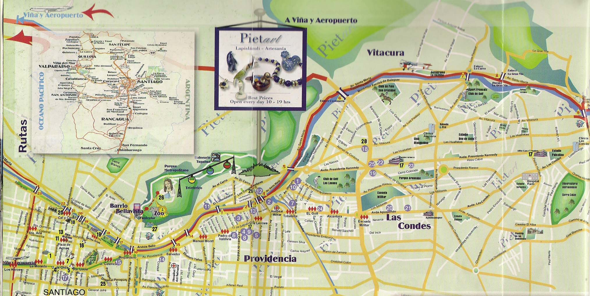 Travel chile site mapas de zonas turisticas de santiago for Calles de santiago de chile